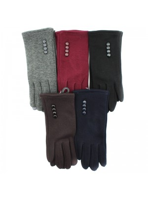 Ladies Touch Screen Fashion Gloves with Button - Asst. Colours