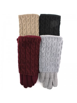 Ladies Two in One Fashion Gloves - Assorted Colours