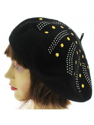 Ladies' Wool Beret With Studded Design - Black