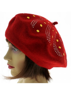 Ladies' Wool Beret With Studded Design - Assorted Colours