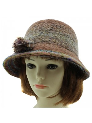 2239c7b2cb06a4 Ladies Wool Blend Cloche Hat with Flower Trim - Assorted Colours