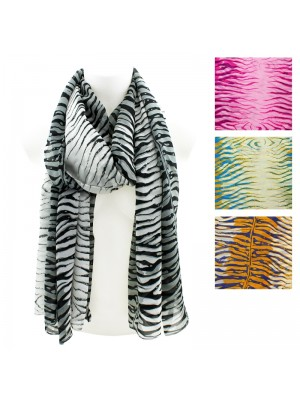 Ladies' Zebra Print Scarves - Assorted Colours