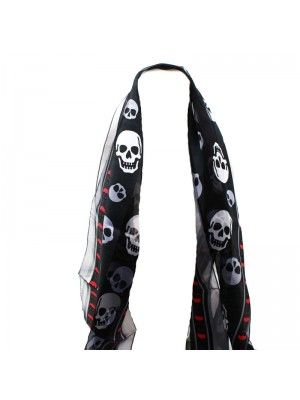 Ladies Skull Print Scarf - Black and White