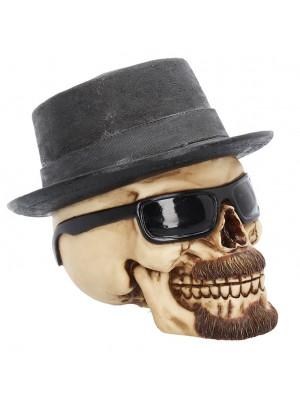 Large Badass Hat and Sunglasses Skull Figurine - 15.8cm