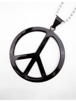 Large Peace Sign Pendant - Black