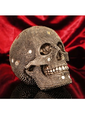 Wholsale Large Skull Ornament With Mirror Mosaic Details - 18cm