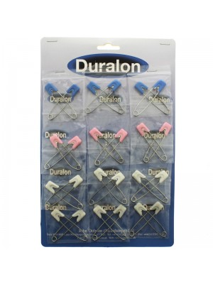 Duralon Large Snap Lock Nappy Pins- Assorted Colours