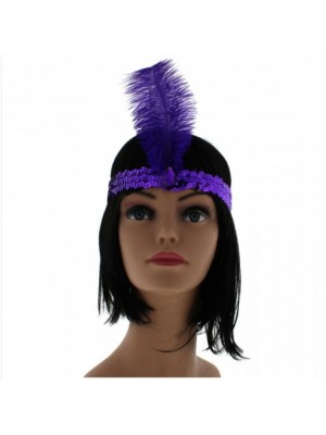 Large Feather Headband with Sequins and Crystal - Purple