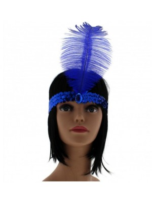 Large Feather Headband with Sequins and Crystal - Royal Blue