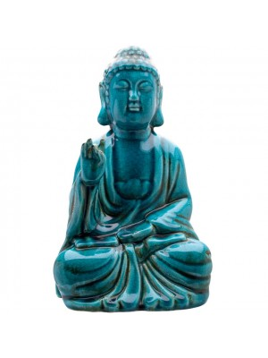 Large Turquoise Crackle Ceramic Sitting Thai Buddha