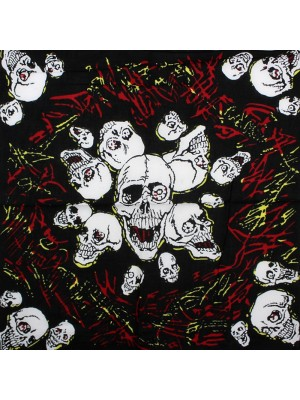 Laughing Skulls and Flames Design Black Bandana