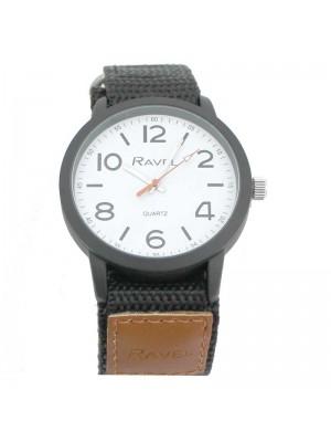 Wholesale Ravel Mens Classic Dial Velcro Watch Strap-Light Brown/Black