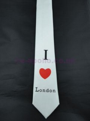 I Love London Tie - White