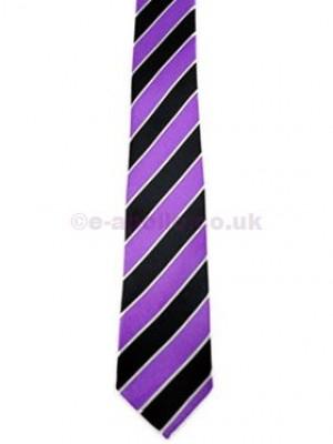 Lilac, Black & White Stripe Tie