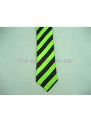 Black & Neon Green Stripe Tie