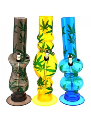 Wholesale Acrylic Bong Leaf Design (12.5 Inch) - Assorted Shapes & Colours