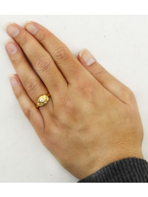 Leaf Design With Diamond Ring - Gold