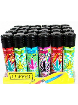 Wholesale Clipper Jet Refillable Lighters-Pop Leaf(Assorted)