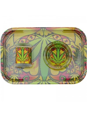 Wholesale Sparkys 3 Pcs Smoking Essential Kit Gift Set - Yellow With Green Leaf