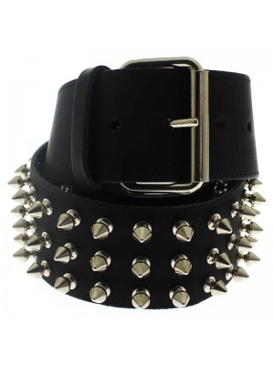 Wholesale Leather 3 Row Spiked Belt Black (S)