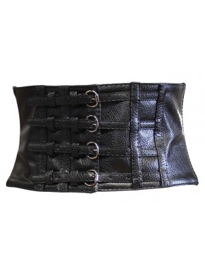 Leather Effect Elasticated Waist Belt With 4 Buckles & Press Button Closure