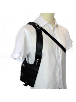 Leather Shoulder Holster Bag- Black With 3 Zips