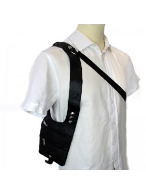 Leather Shoulder Holster Bag- Black With 3 Zips