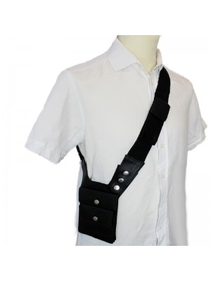Leather Shoulder Holster Pouch- Black With 2 Button Pocket