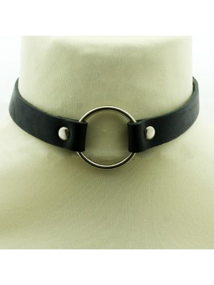 Leather Choker Jointed Ring Plain Black - (4cm Ring)