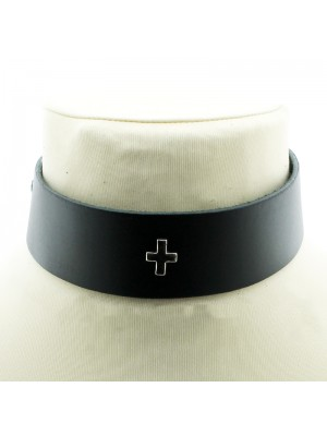 Leather Choker With a Cross (3.5cm)