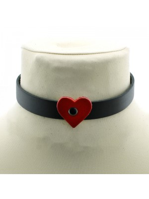 Leather Choker With A Heart (1.5cm)