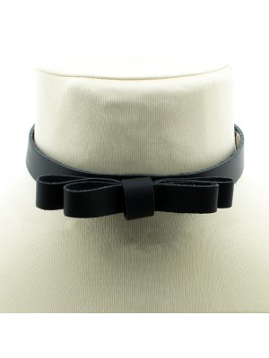 Leather Choker With Bow (1.5cm)