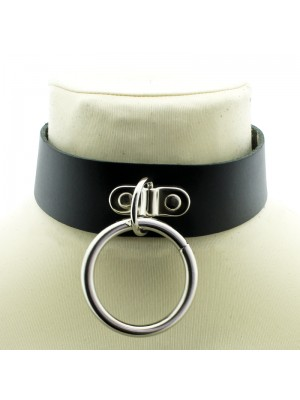 Leather Choker With Large Ring (5.5cm)