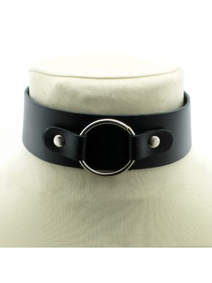 Leather Choker With Strapped On Ring (4cm)