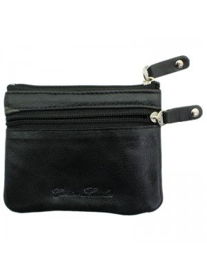 Leather Coin Purse with 2 Zipped Coin Compartments - Black