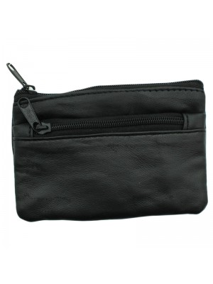 Leather Coin Purse with 2 Zipped Compartments - Black