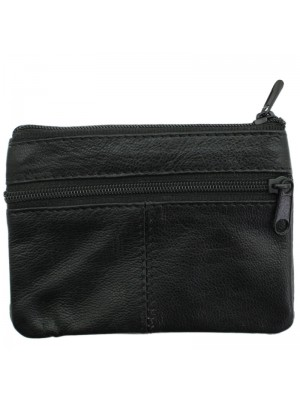 Leather Dual Coin Purse with Buttoned Compartment - Black
