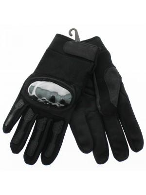 Leather Hard Knuckle Gloves - Black (Single)