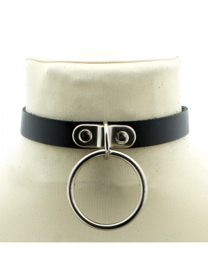 Leather Neckband With Large Ring