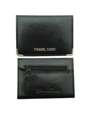 Leather Travel Card Holder with Coin Slot - Black