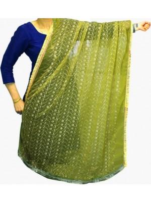 Wholesale Ladies Gota Patti Embroidery Ethnic Dupatta - Lime Green