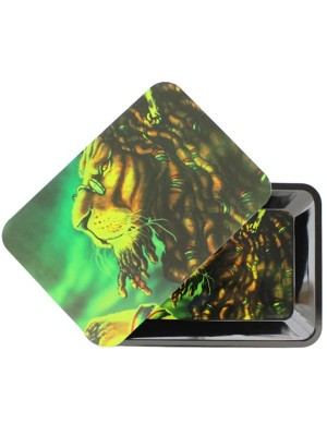 Wholesale Lion Metal Rolling Tray With Magnetic Lid - Mini (18 x 12.5 cm)
