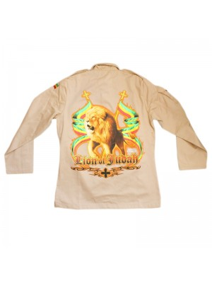 Lion Of Judah Buttoned Shirt Jacket - Beige (Assorted Sizes)