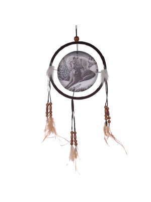 Lisa Parker Snow Kisses Wolf Dreamcatcher - 16cm