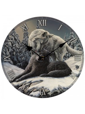 Lisa Parker Snow Kisses Wolf Wall Clock