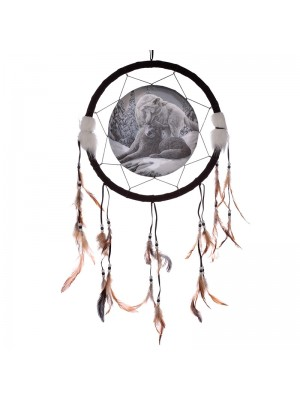 Lisa Parker Snow Kisses Wolf DreamCatcher - 33cm