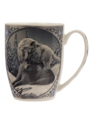 Lisa Parker Snow Kisses Wolf New Bone China Mug