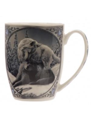 Lisa Parker Snow Kisses Wolf New Bone China Mug