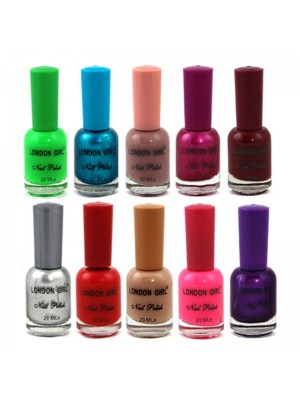 Wholesale London Girl Nail Polish Tray A - Assorted Colours London Girl nail polish coats nails with intense colour and long-lasting shine. The ultra-precise brush adapts to every nail shape for easy application. Assorted Colours: # 04 - Silver # 56