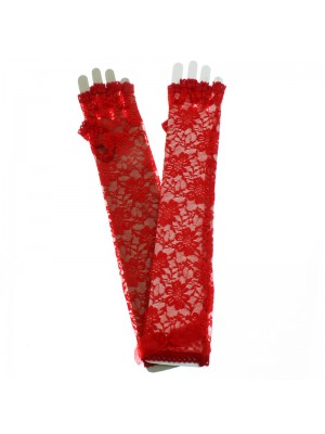 Long Fingerless Lace Gloves With Bow - Red